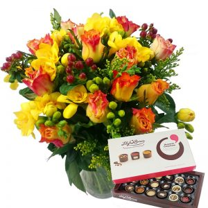 Rose & Freesia with Chocolates and Vase